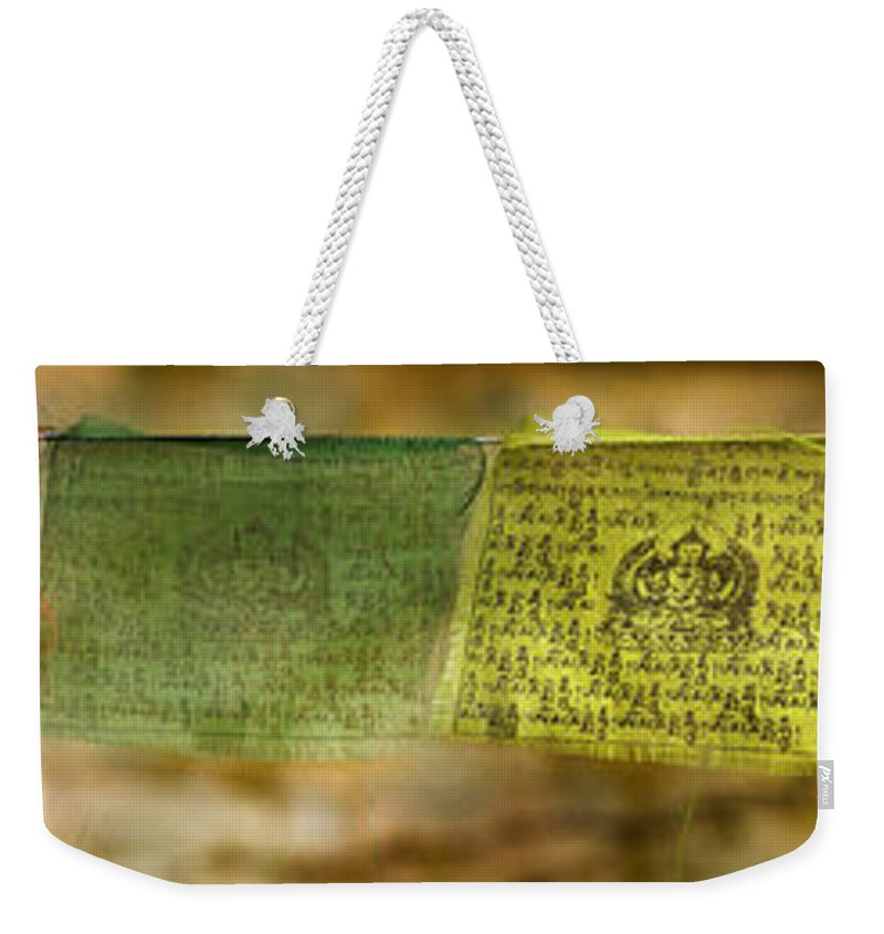 Buddhism Weekender Tote Bag featuring the photograph Tibetan Prayer Flags by Peter v Quenter