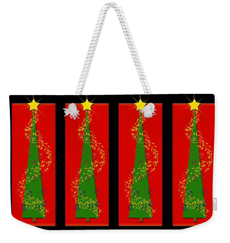 Christmas Weekender Tote Bag featuring the digital art Tidings From Trees by Lisa Knechtel