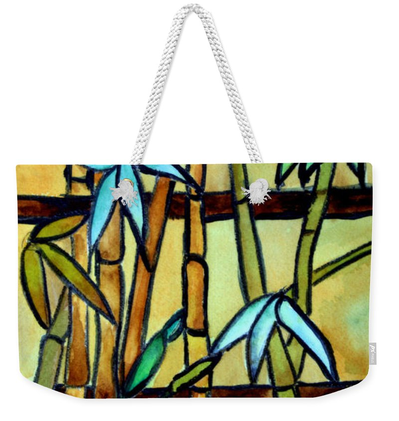Tiffany Weekender Tote Bag featuring the painting Stained Glass Tiffany Bamboo Panel by Donna Walsh