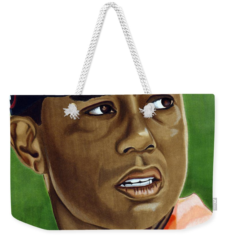 Golf Weekender Tote Bag featuring the drawing Tiger by Cory Still