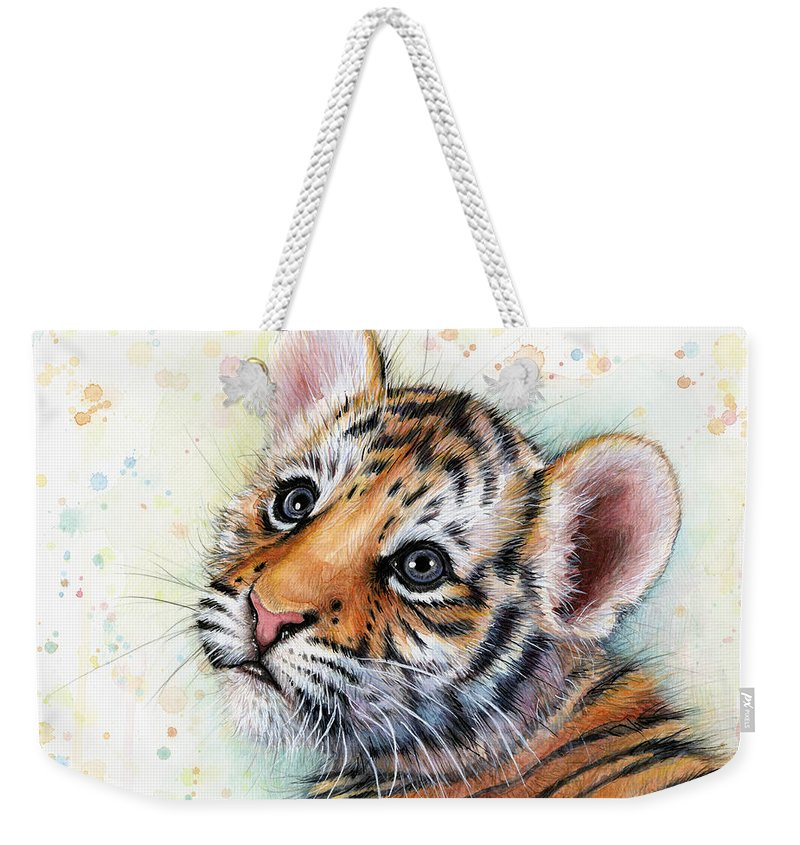 Tiger Weekender Tote Bag featuring the painting Tiger Cub Watercolor Art by Olga Shvartsur