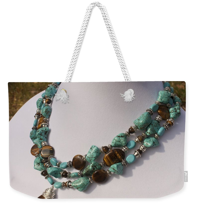 Original Handmade Jewelry Weekender Tote Bag featuring the jewelry Tiger Eye And Turquoise Triple Strand Necklace 3640 by Teresa Mucha