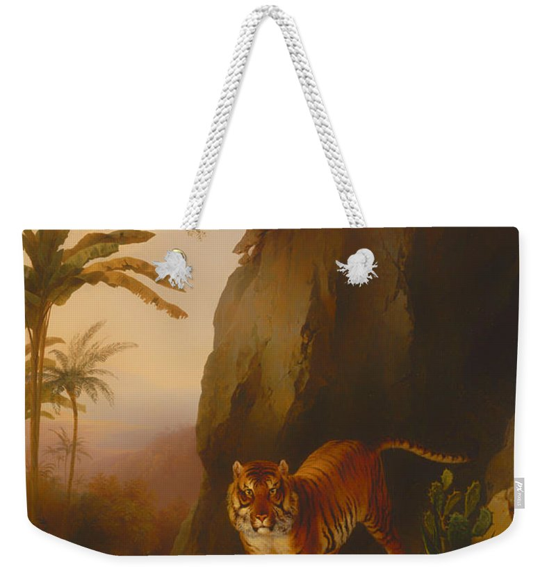 Painting Weekender Tote Bag featuring the painting Tiger In A Cave by Mountain Dreams
