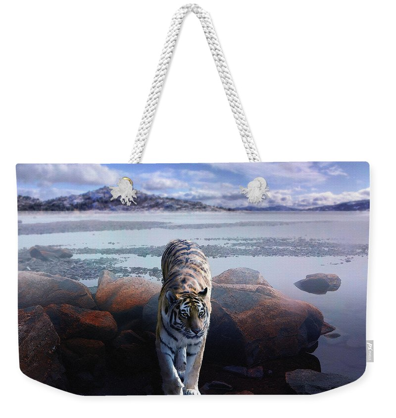 Tiger Weekender Tote Bag featuring the digital art Tiger In A Lake by Pati Photography