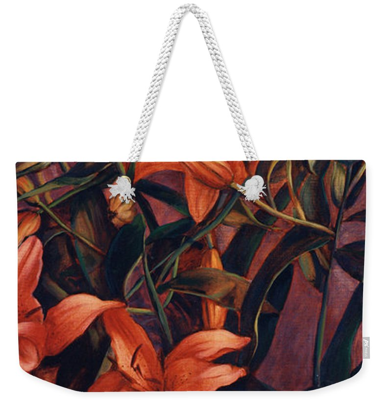 Tiger Weekender Tote Bag featuring the painting Tiger Lilies by Konnie Kim