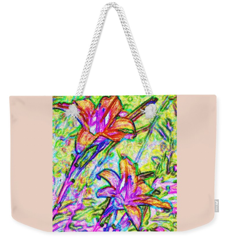 Tiger Weekender Tote Bag featuring the photograph Tiger Lillies by Ian MacDonald