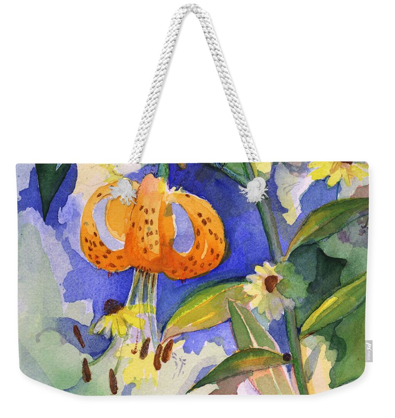 Tiger Lily Weekender Tote Bag featuring the painting Tiger Lily In Dappled Light by Nancy Watson
