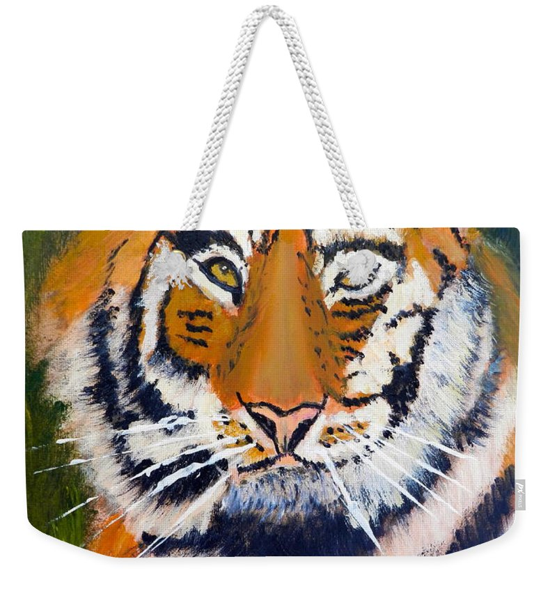 Impressionism Weekender Tote Bag featuring the painting Tiger by Pamela Meredith