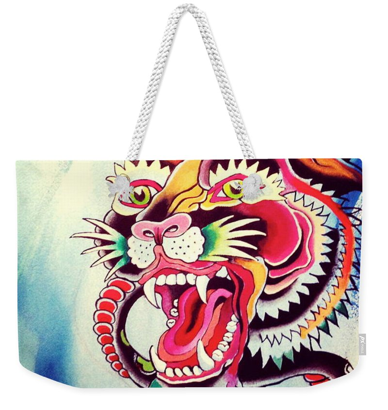 Snake Weekender Tote Bag featuring the painting Tiger Snake by Britt Kuechenmeister