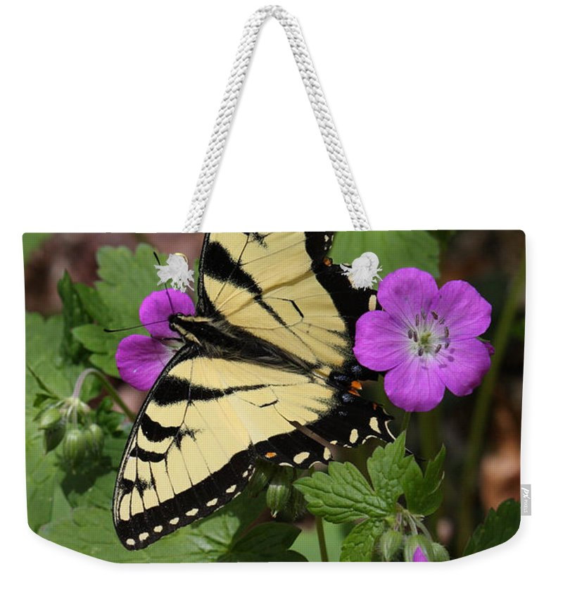 Tiger Swallowtail Butterfly On Geranium Weekender Tote Bag featuring the photograph Tiger Swallowtail Butterfly On Geranium by Daniel Reed