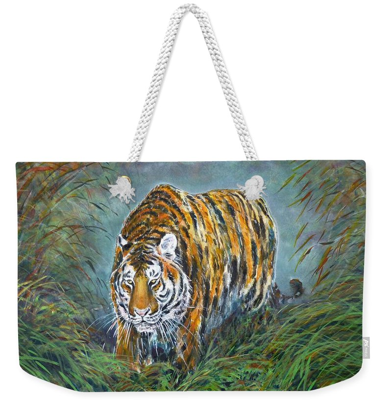 Tiger Weekender Tote Bag featuring the painting Tiger by Zaira Dzhaubaeva