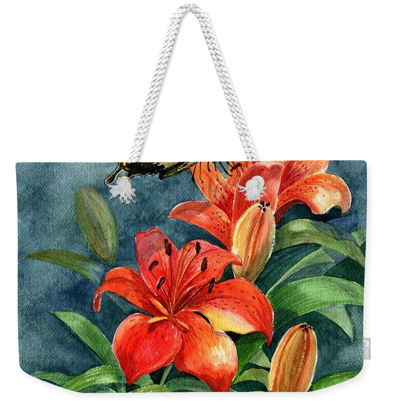 Butterflies Weekender Tote Bag featuring the painting Tigers by Marilyn Smith