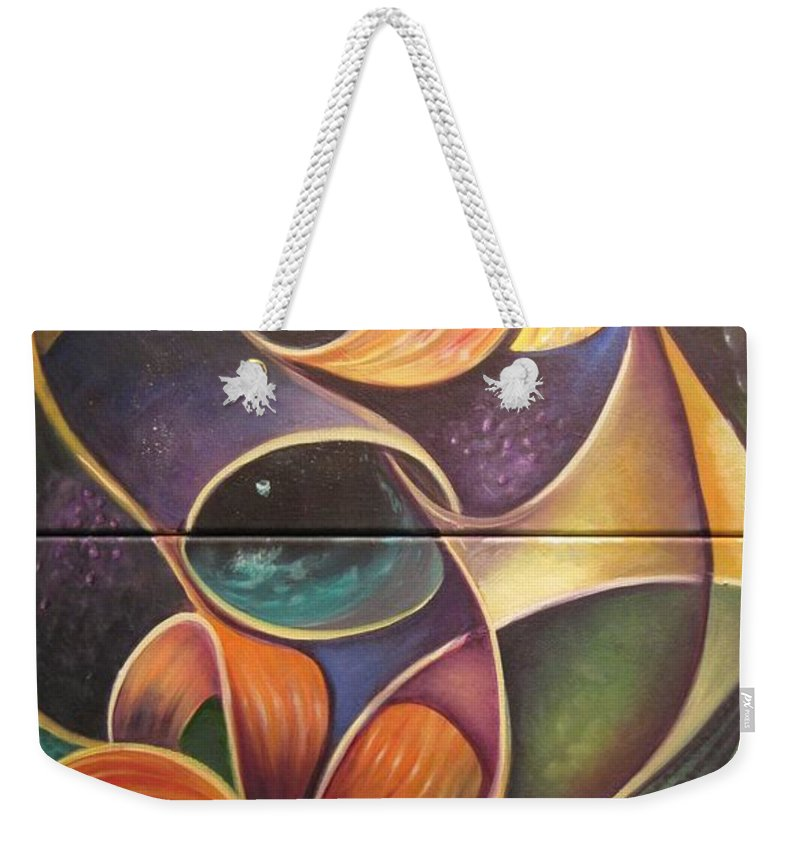 Flowers Weekender Tote Bag featuring the painting Tigers by Sherry Strong