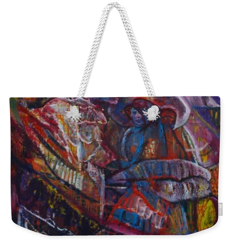 African Women Weekender Tote Bag featuring the painting Tikor Woman by Peggy Blood