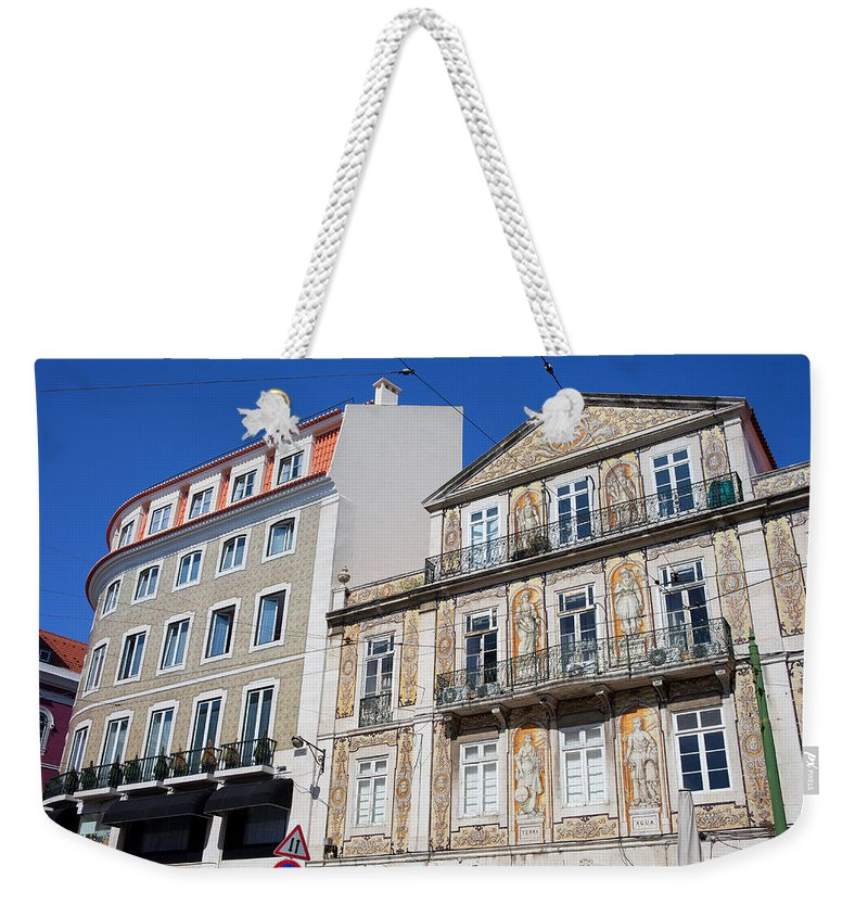 Building Weekender Tote Bag featuring the photograph Tiled Building In Chiado District Of Lisbon by Artur Bogacki