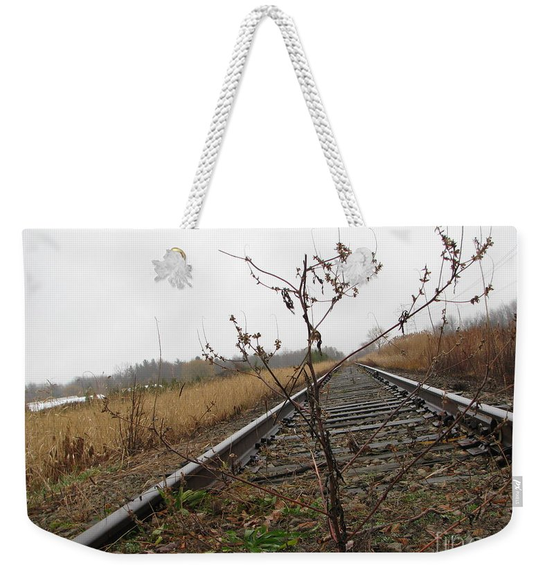 Railroad Tracks Weekender Tote Bag featuring the photograph Tilted Tracks by Michael Krek