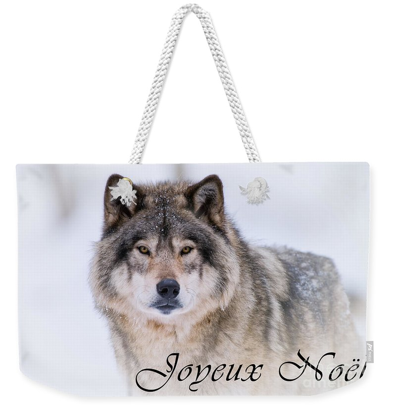 Timber Wolf Christmas Card French 20 Weekender Tote Bag for Sale by ...