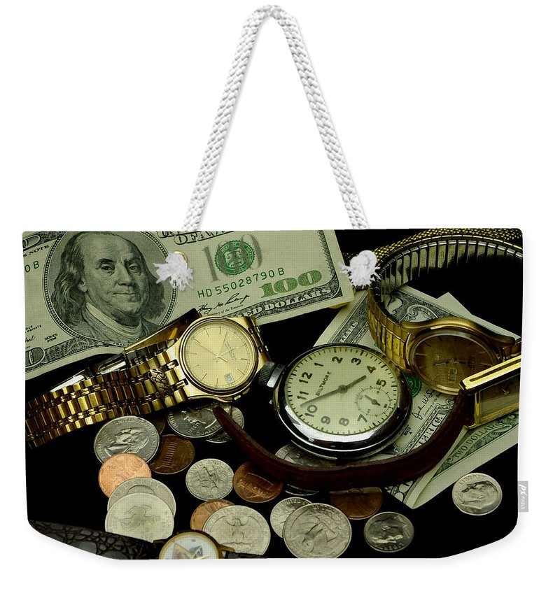 Money Weekender Tote Bag featuring the photograph Time And Money by James C Thomas
