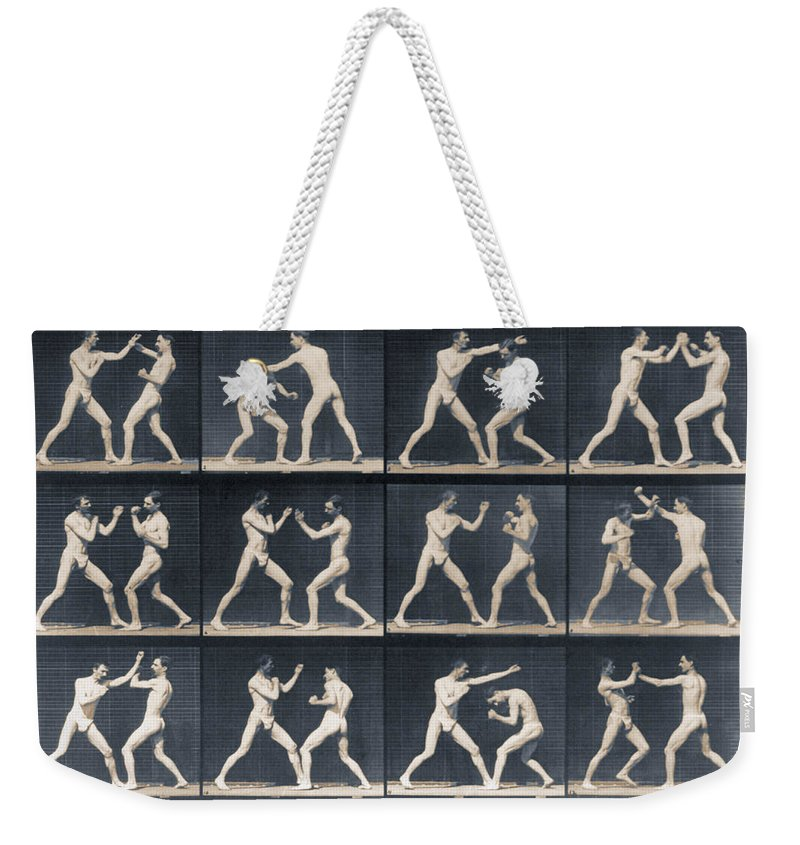 Man Weekender Tote Bag featuring the painting Time Lapse Motion Study Men Boxing by Tony Rubino