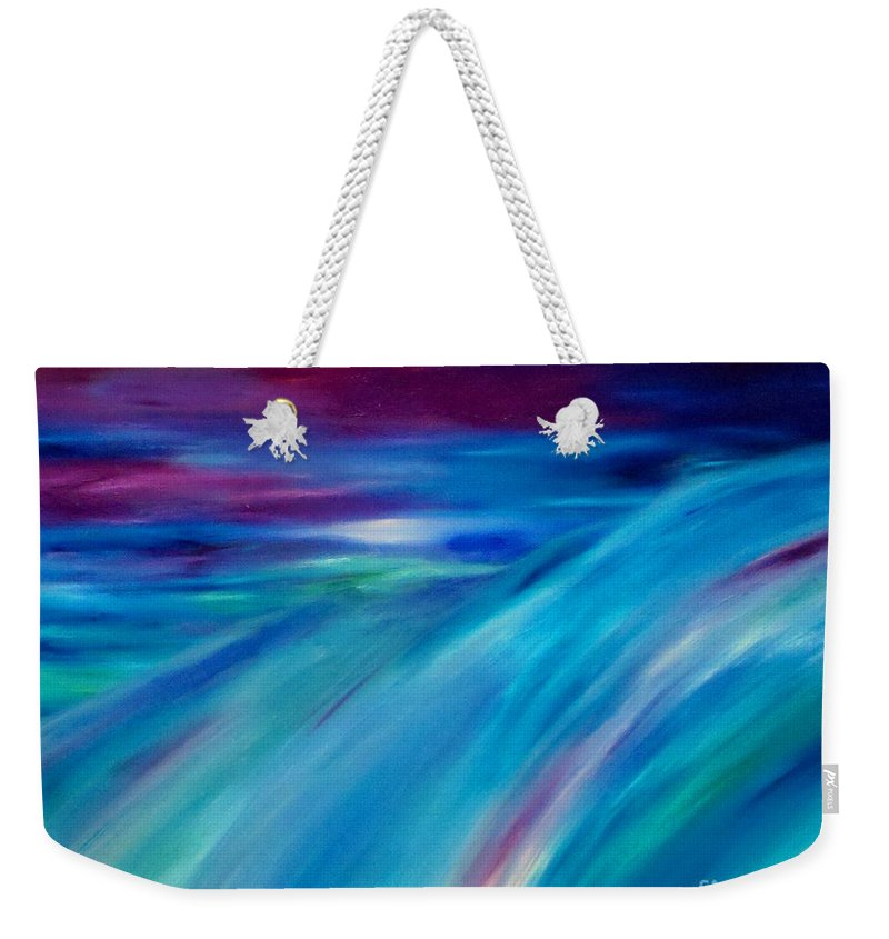 Abstract Weekender Tote Bag featuring the painting Time Passages. Inner-view Series by Tracy Evans