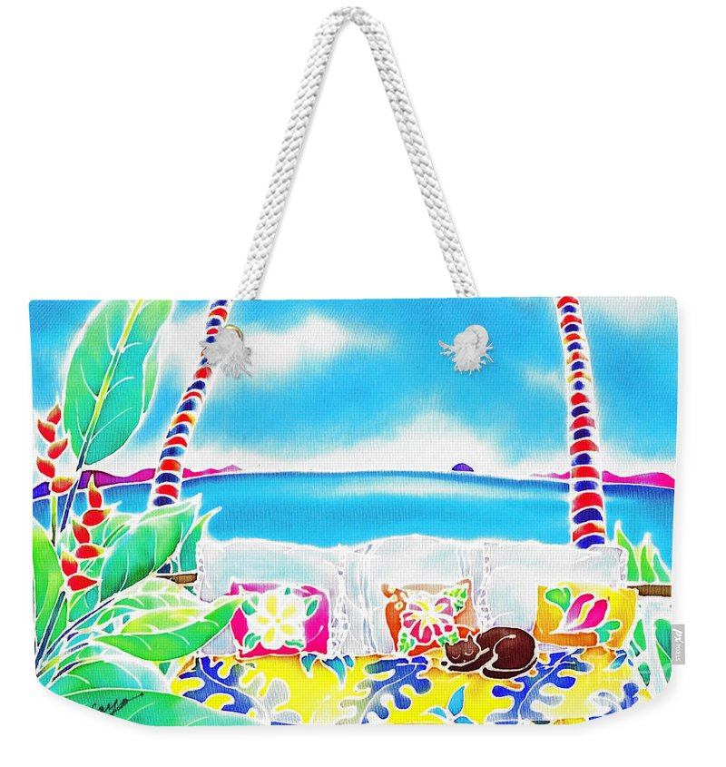 Tropical Weekender Tote Bag featuring the painting Time Stands Still by Hisayo Ohta