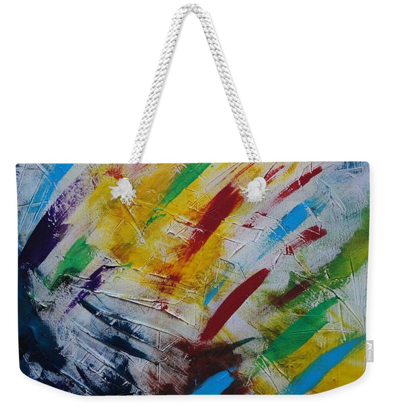 Abstract Weekender Tote Bag featuring the painting Time stands still by Sergey Bezhinets