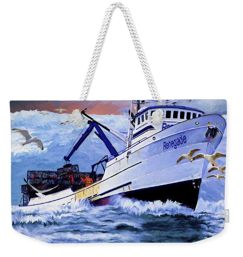 Alaskan King Crabber Weekender Tote Bag featuring the painting Time To Go Home by David Wagner
