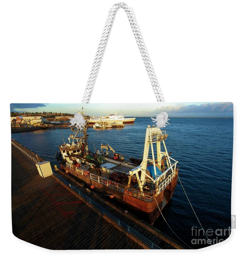 Port Angles Weekender Tote Bag featuring the photograph Time To Work by Adam Jewell