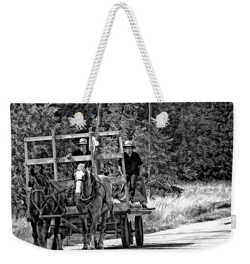 Amish Weekender Tote Bag featuring the photograph Time Travelers Bw by Steve Harrington