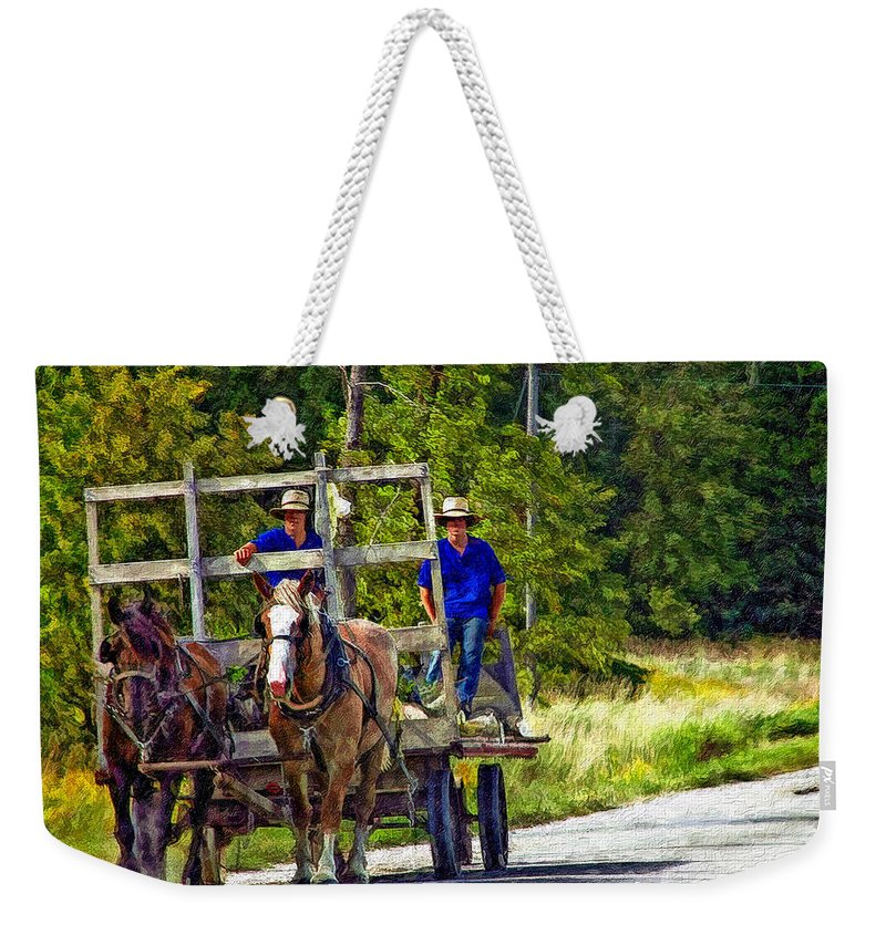 Amish Weekender Tote Bag featuring the photograph Time Travelers Impasto by Steve Harrington