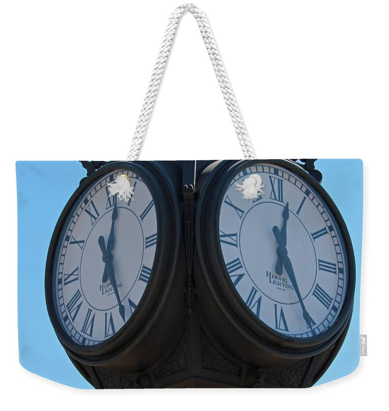 Clock Weekender Tote Bag featuring the photograph Timed by Jamie Smith