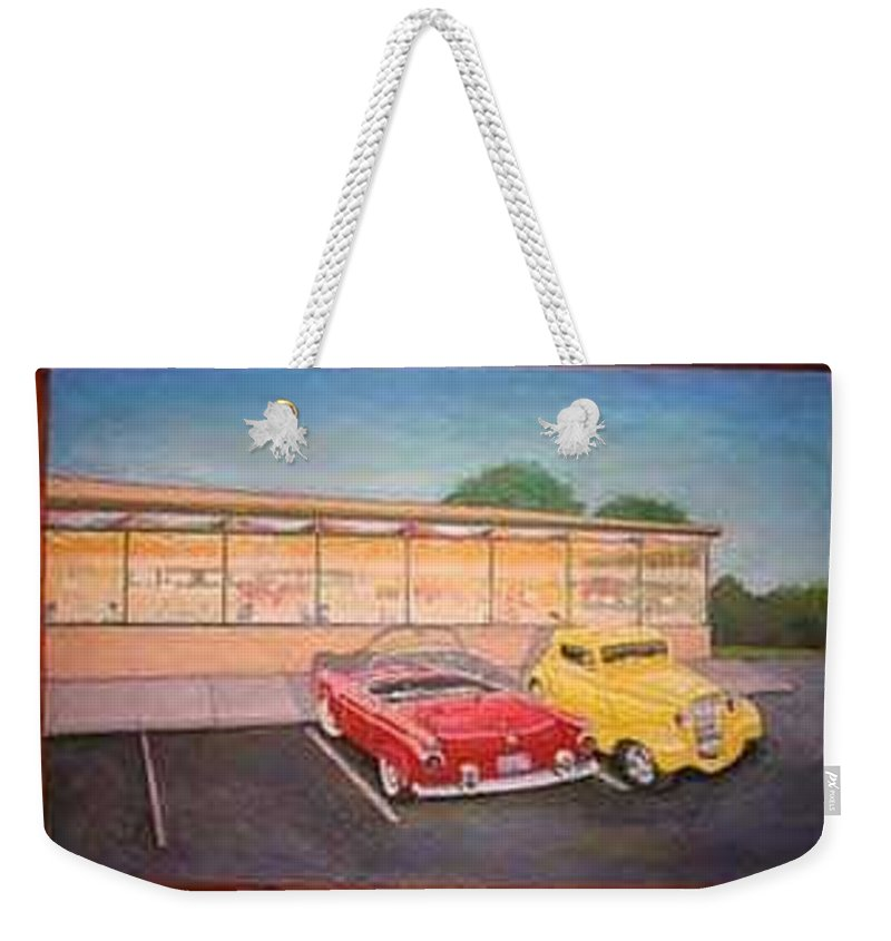 Rick Huotari Weekender Tote Bag featuring the painting Times Past Diner by Rick Huotari