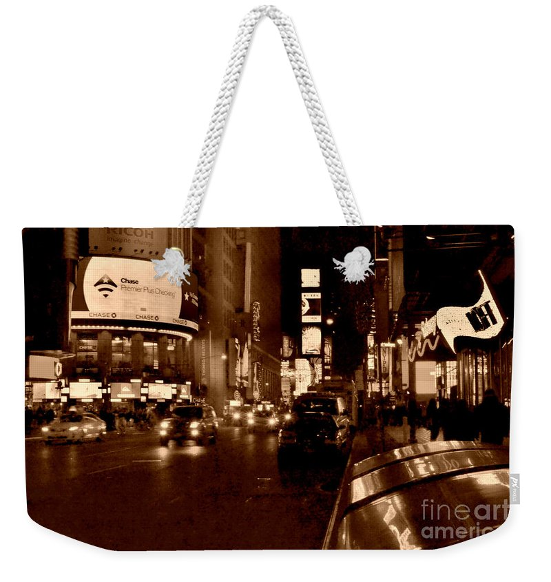 Times Square Weekender Tote Bag featuring the photograph Times Square At Night - In Copper by Miriam Danar