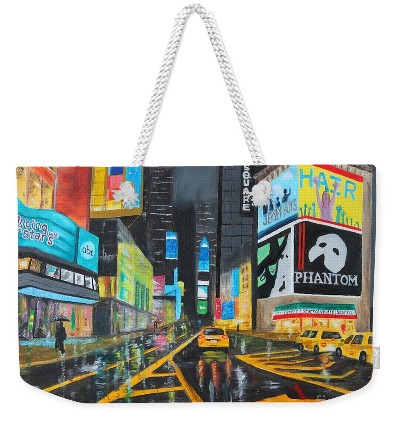 New York Weekender Tote Bag featuring the painting Times Square by Bev Conover