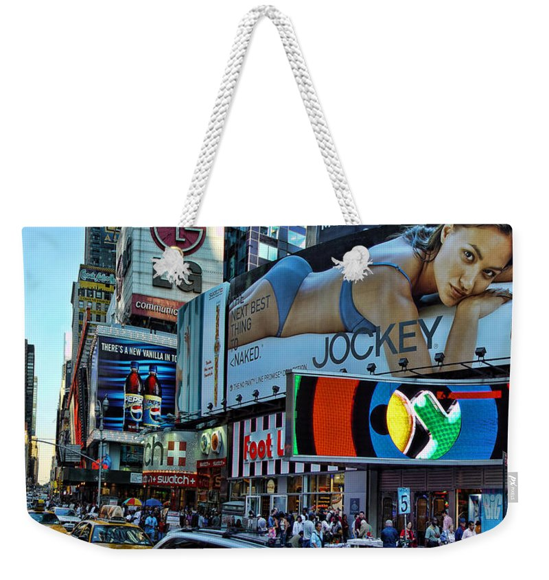 Times Square Weekender Tote Bag featuring the photograph Times Square Energy by New York