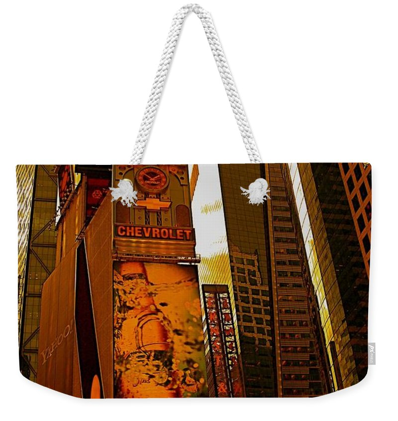 Manhattan Posters And Prints Weekender Tote Bag featuring the photograph Times Square In Manhattan by Monique's Fine Art