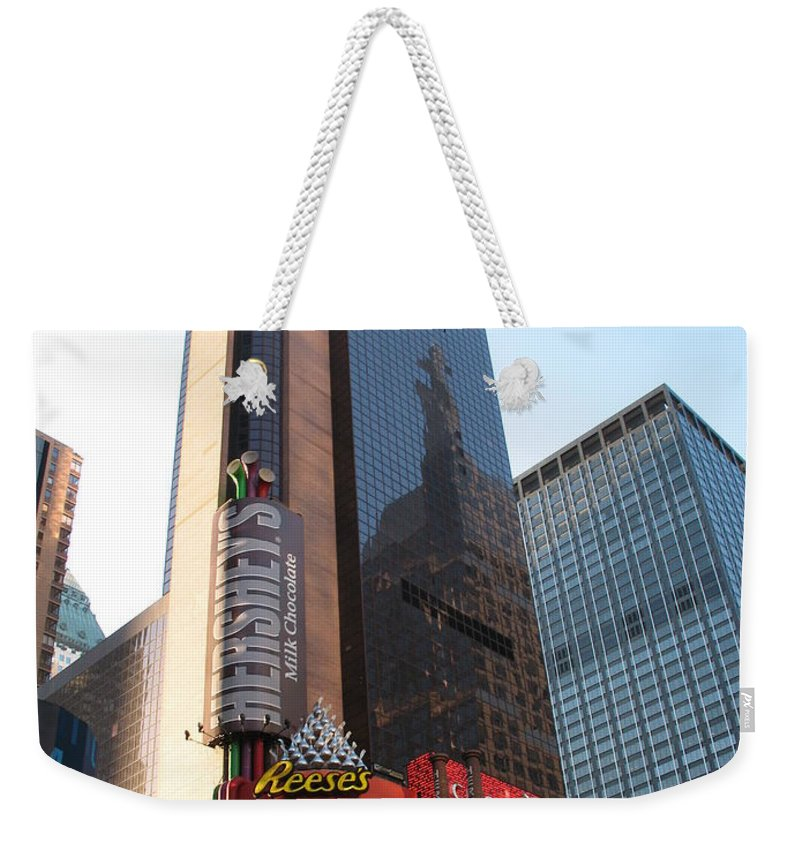 Times Square Weekender Tote Bag featuring the photograph Times Square - New York City by Christiane Schulze Art And Photography