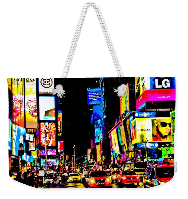 Neon Weekender Tote Bag featuring the photograph Times Square by Rebekah Wilson