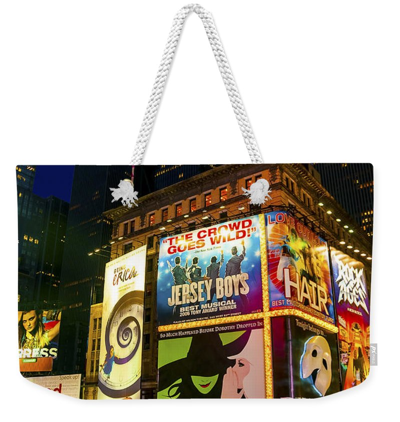 America Weekender Tote Bag featuring the photograph Times Square by Svetlana Sewell
