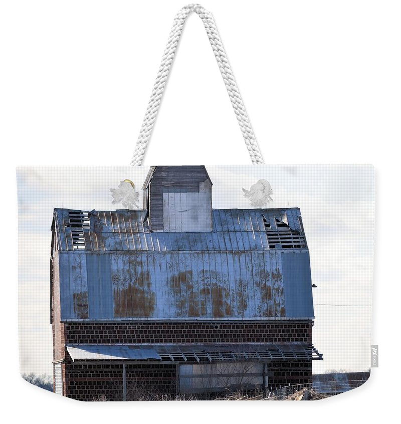 Grainery Weekender Tote Bag featuring the photograph Tin Grainery by Bonfire Photography