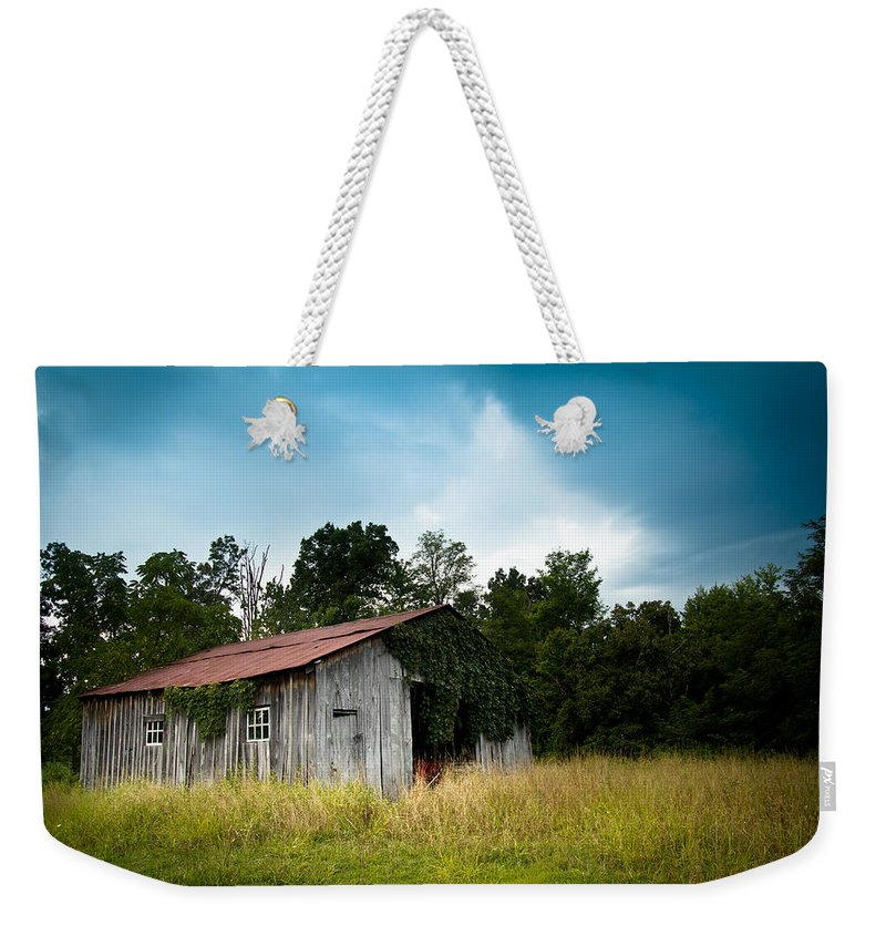 Barn Weekender Tote Bag featuring the photograph Tin Roof...ivy Covered Barn by Shane Holsclaw