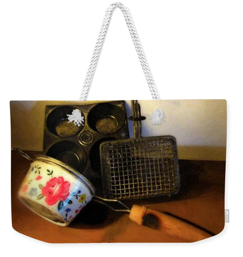 Still Life Weekender Tote Bag featuring the painting Tiny Tools by RC DeWinter
