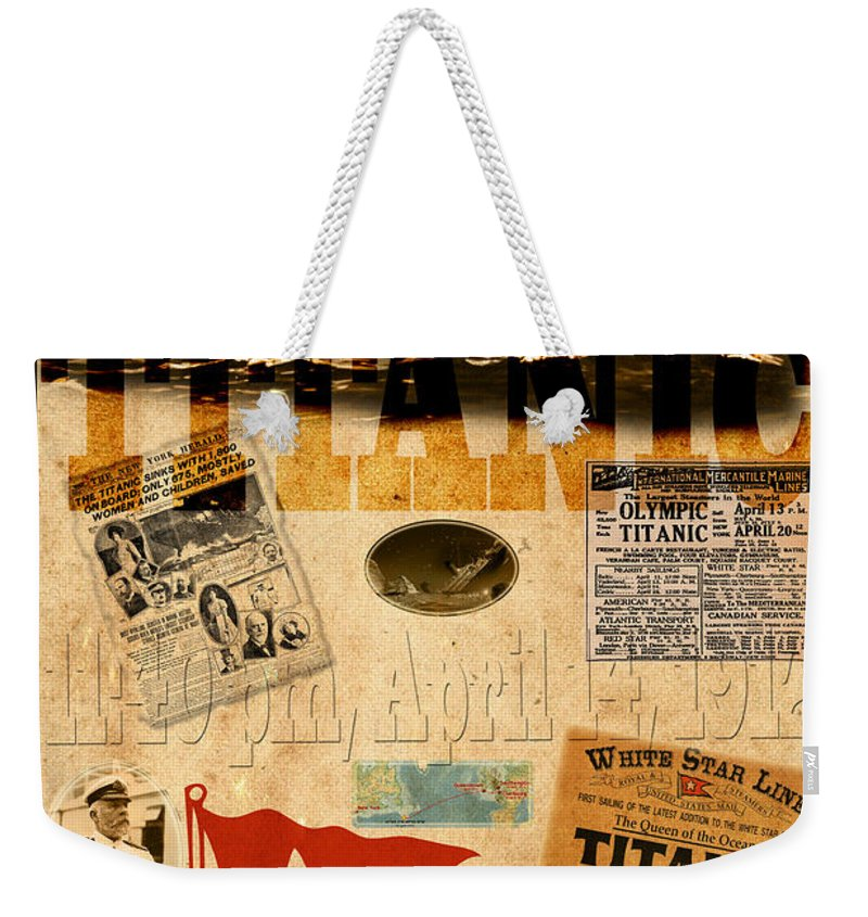 Titanic Weekender Tote Bag featuring the photograph Titanic by Andrew Fare