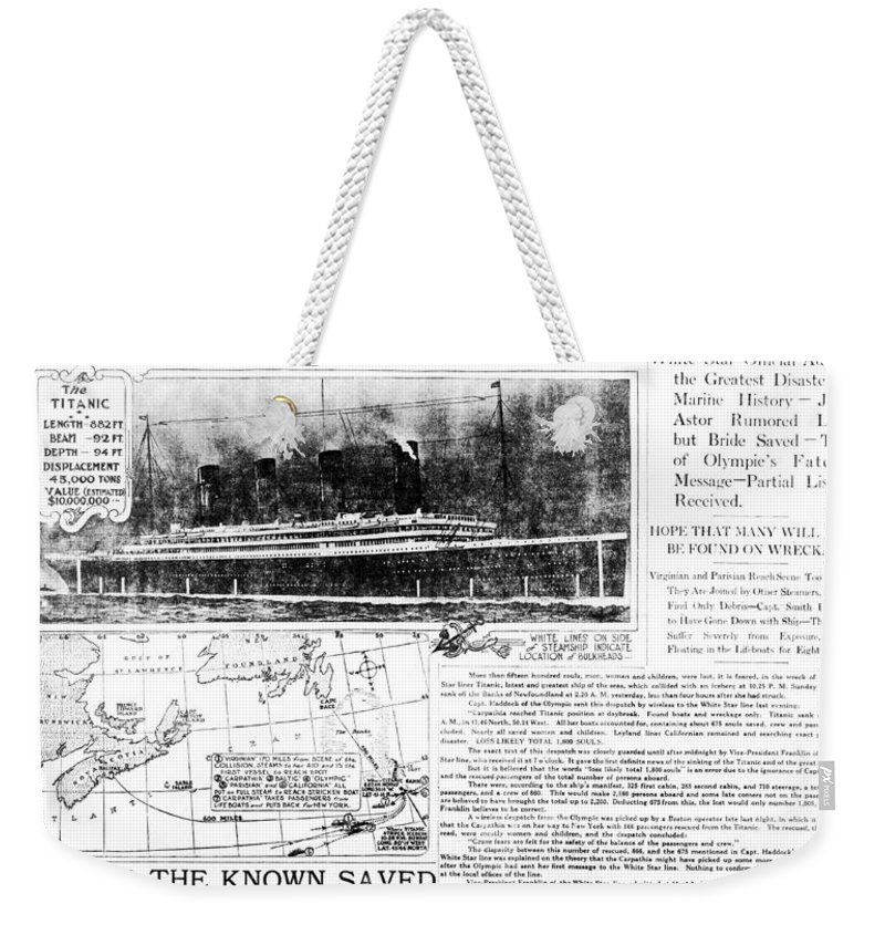 1910's Weekender Tote Bag featuring the photograph Titanic Sinking Headlines by Underwood Archives