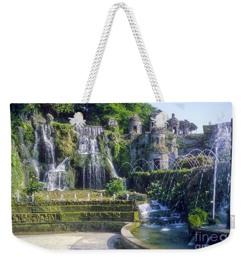 Tivoli Gardens Rome Fountain Fountains Water Structure Structures Landscape Landscapes Tree Trees Italy Plant Plans Weekender Tote Bag featuring the photograph Tivoli Garden Fountains by Bob Phillips