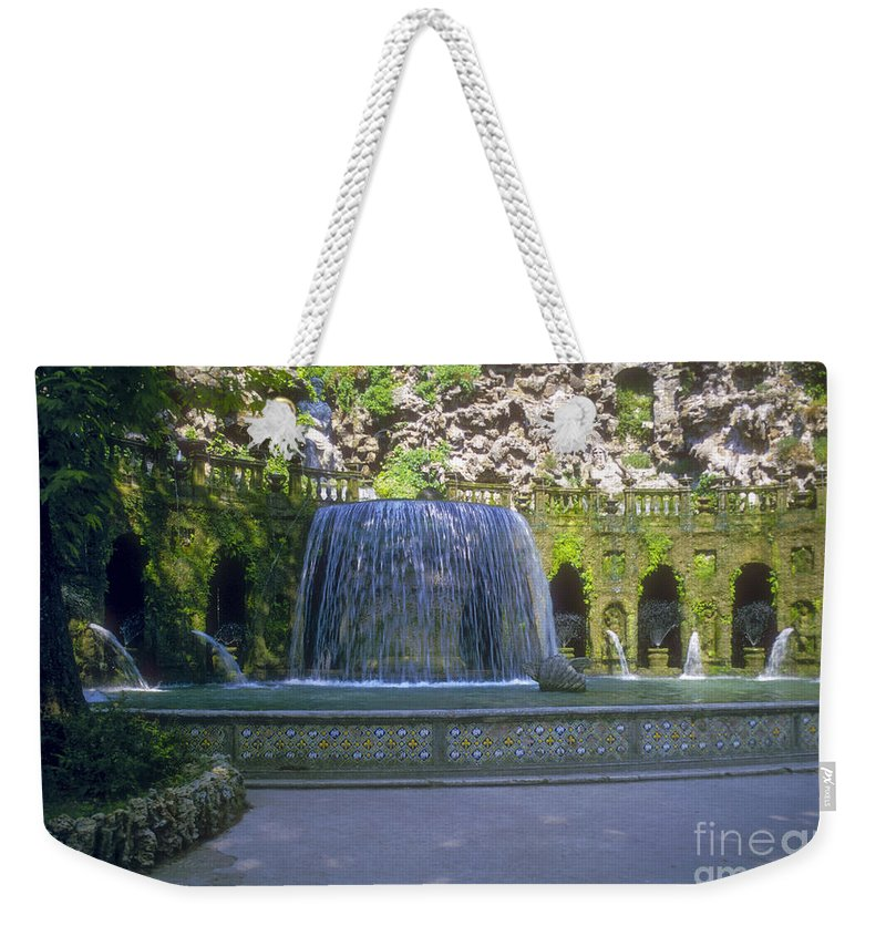 Tivoli Gardens Rome Fountain Fountains Water Structure Structures Landscape Landscapes Tree Trees Italy Plant Plans Pool Pools Weekender Tote Bag featuring the photograph Tivoli Gardens Fountain And Pool by Bob Phillips