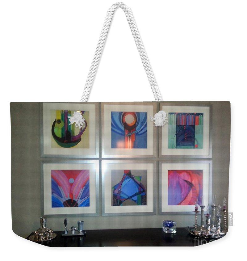 Judaic Paintings Weekender Tote Bag featuring the painting Tk Install Prints by Marlene Burns