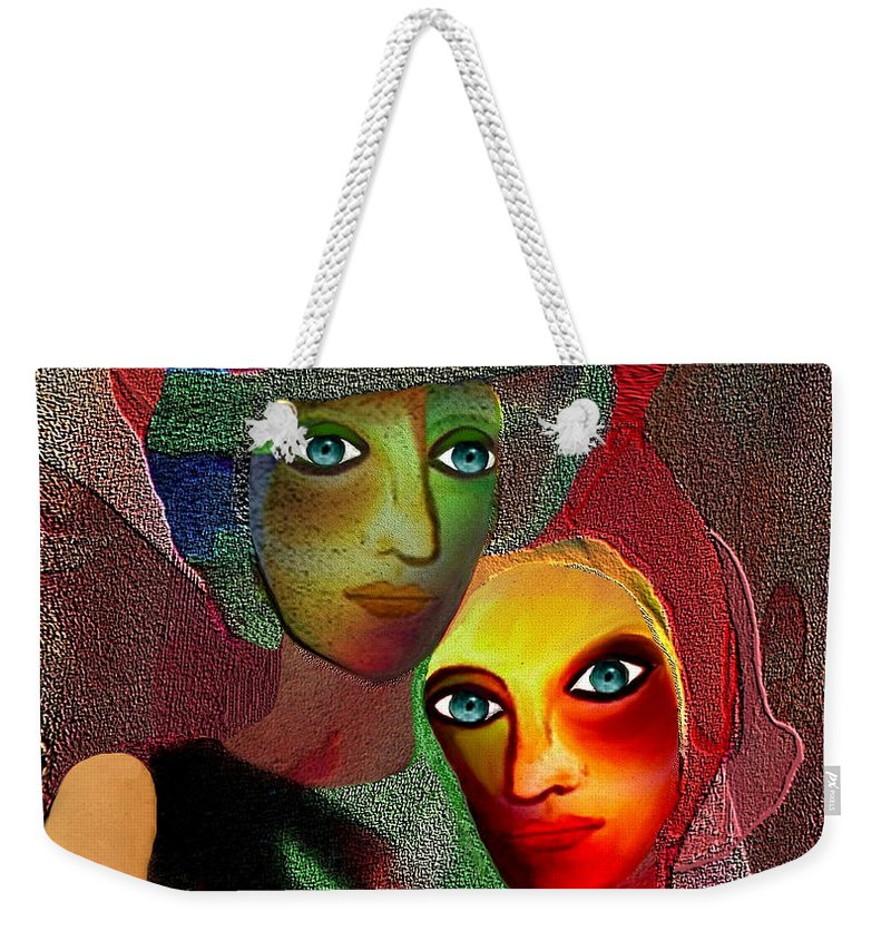 002 Weekender Tote Bag featuring the painting 002 - To Lean On  by Irmgard Schoendorf Welch