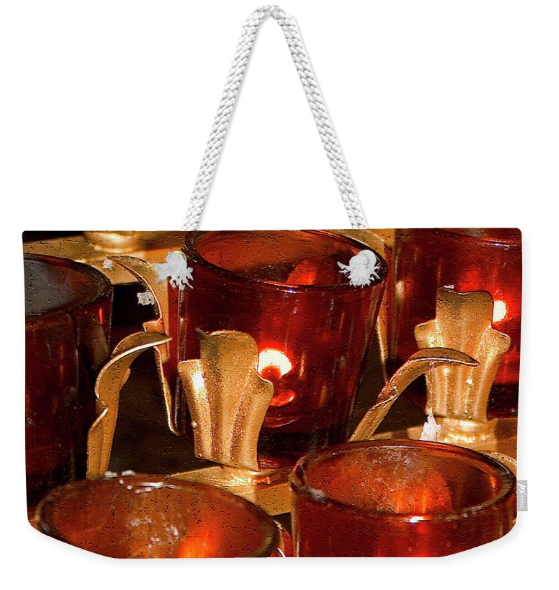 Candle Weekender Tote Bag featuring the photograph To Lite A Candle by Karol Livote