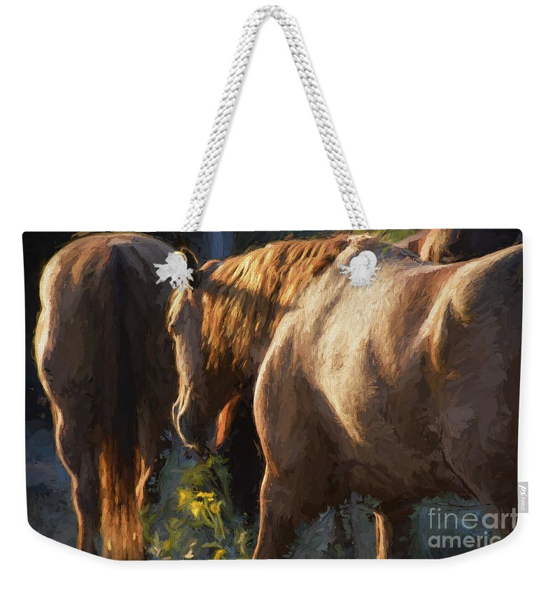 Horses Weekender Tote Bag featuring the photograph To The Barn by Shannon Story
